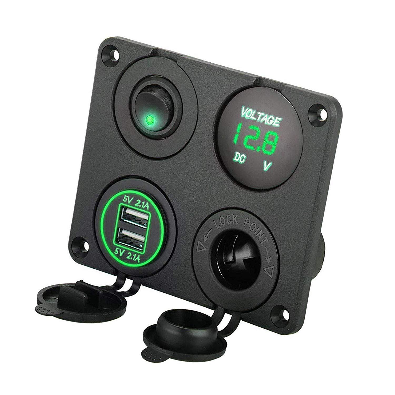 EEEKit 4 in 1 Pannello Presa per Caricabatterie Presa USB Doppia Presa per Caricabatterie e LED voltmetro e accendisigari Presa e LED Verde Acceso ON//off Interruttore a levetta