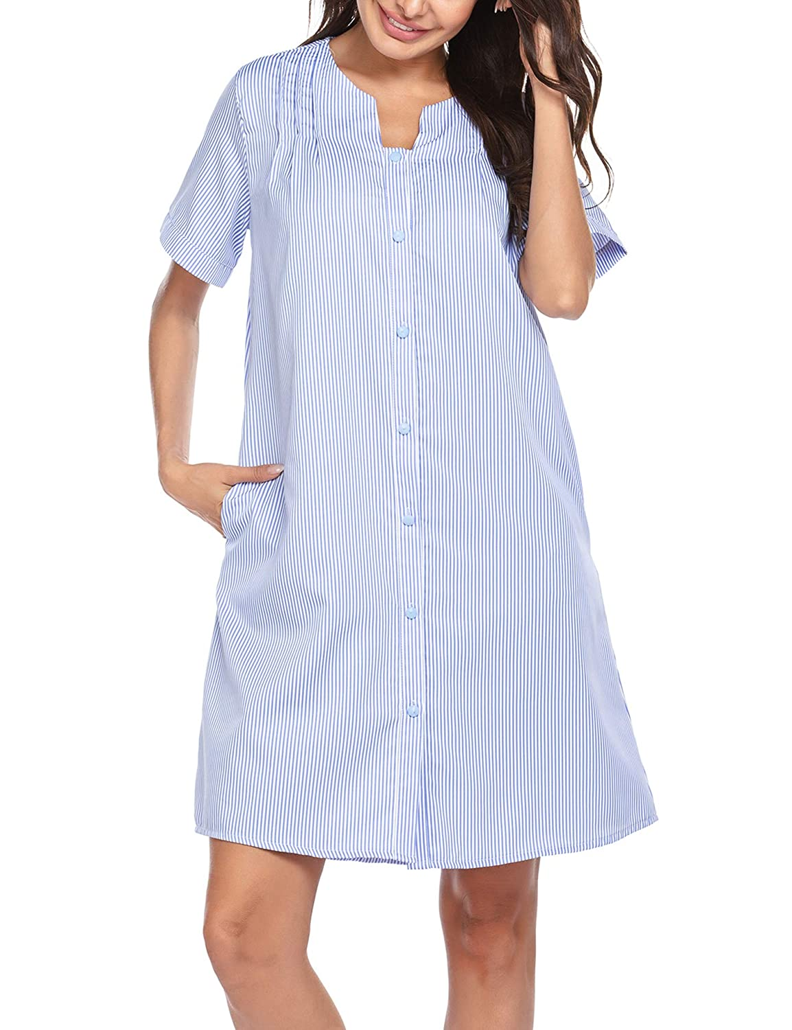 Ekouaer Women Housecoat Button Down Nightgown Short Sleeve House Dress Striped Duster Robe with Pockets S-XXL