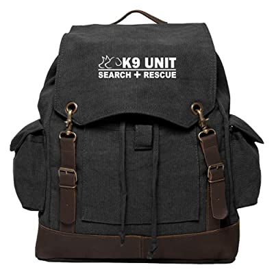 durable modeling K9 Search & Rescue Vintage Canvas Rucksack Backpack with Leather Straps
