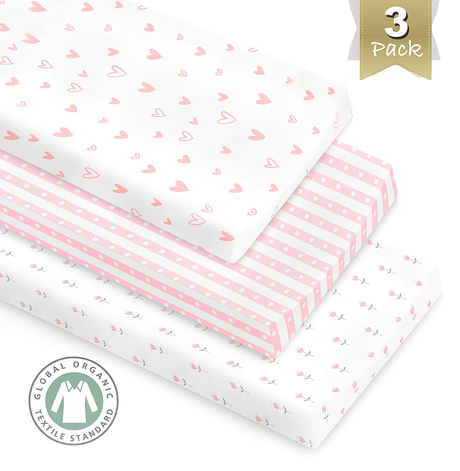 3 Pack GOTS Certified Organic Cotton Changing Pad Covers or Cradle Sheet for Girl, with Safety Strap Holes Metathrive