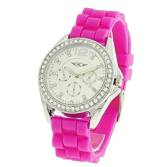 montre-concept – Reloj analógico Mujer – Correa Silicona Rosa Reloj Redondo Color Plata fondo