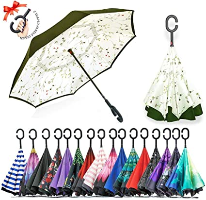 Double Layer Inside Out Folding Umbrella Upside Down Umbrellas with C-Shaped Handle for Women and Men Reverse Inverted Windproof Colorful Butterflies Umbrella