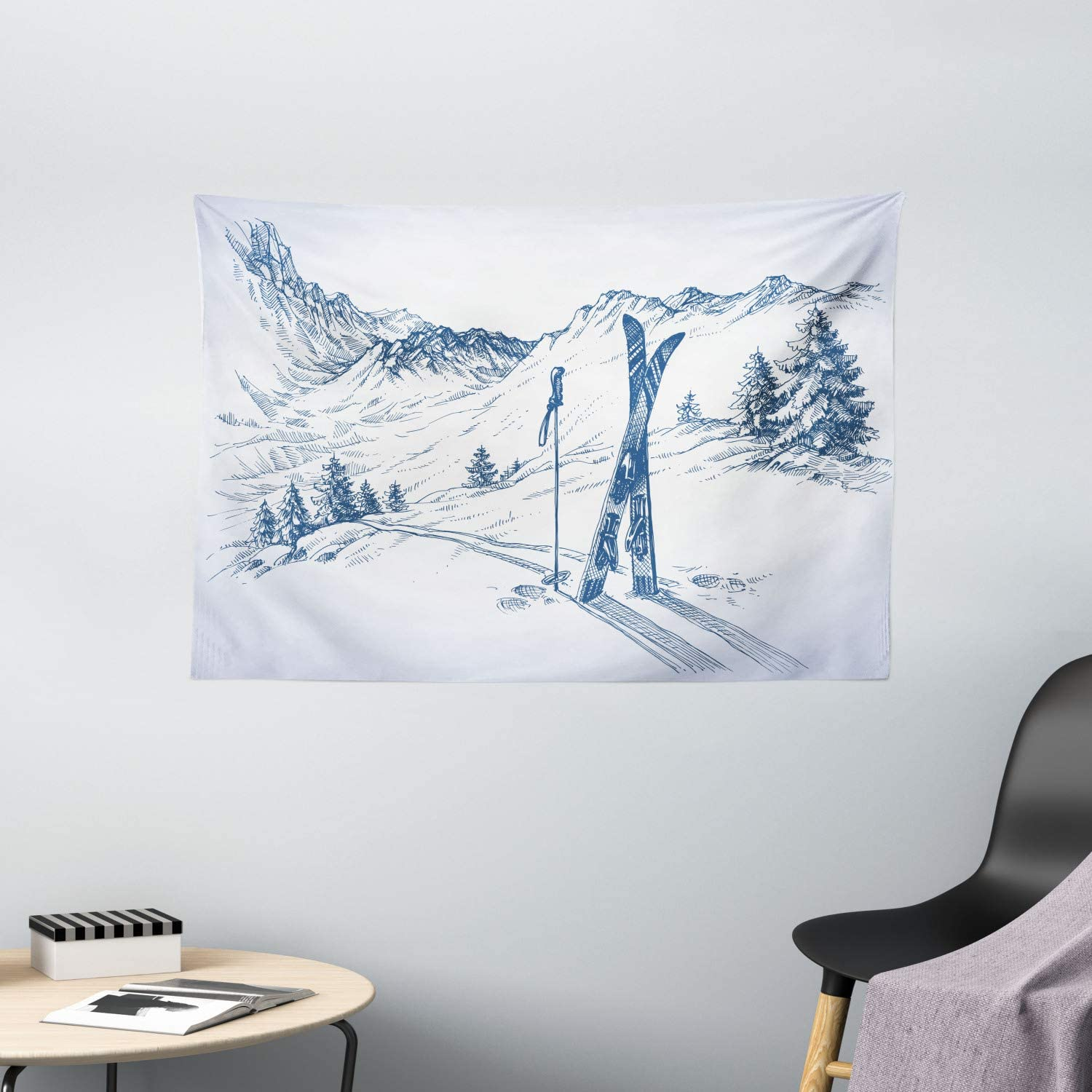 """Ambesonne Winter Tapestry, Sketchy Graphic of a Downhill with Ski Elements in Snow Relax Calm View, Wide Wall Hanging for Bedroom Living Room Dorm, 60"""" X 40"""", White Blue"""