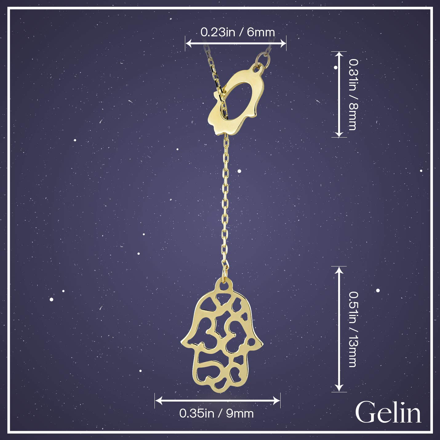 18 inch A Perfect Surprise Gift for Her Gelin 14k Yellow Gold Hamsa Hand of Fatima Chain Necklace for Women