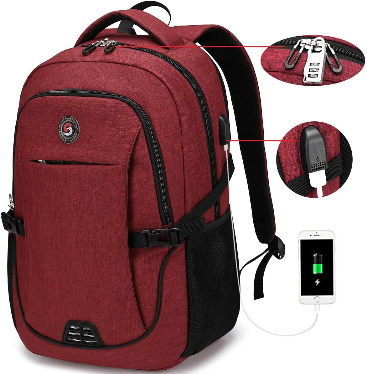SOLDIERKNIFE Durable Waterproof Anti Theft Laptop Backpack Travel Backpacks Bookbag with usb Charging Port for Women & Men School College Students Backpack Fits 15.6 Inch Laptop Red