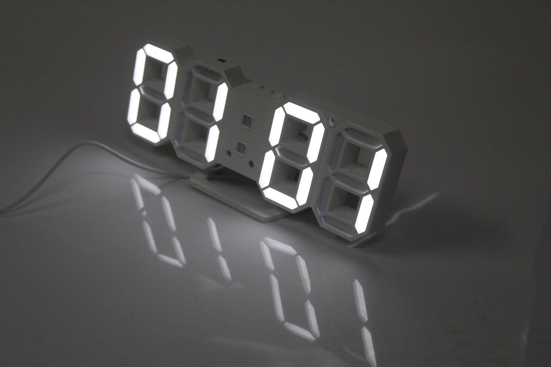 LED Multifonctionnel Digital Horloge Murale 12H//24h Affichage de lheure Alarme Fonction Snooze r/églable Luminance ARDUX LED Horloge Murale