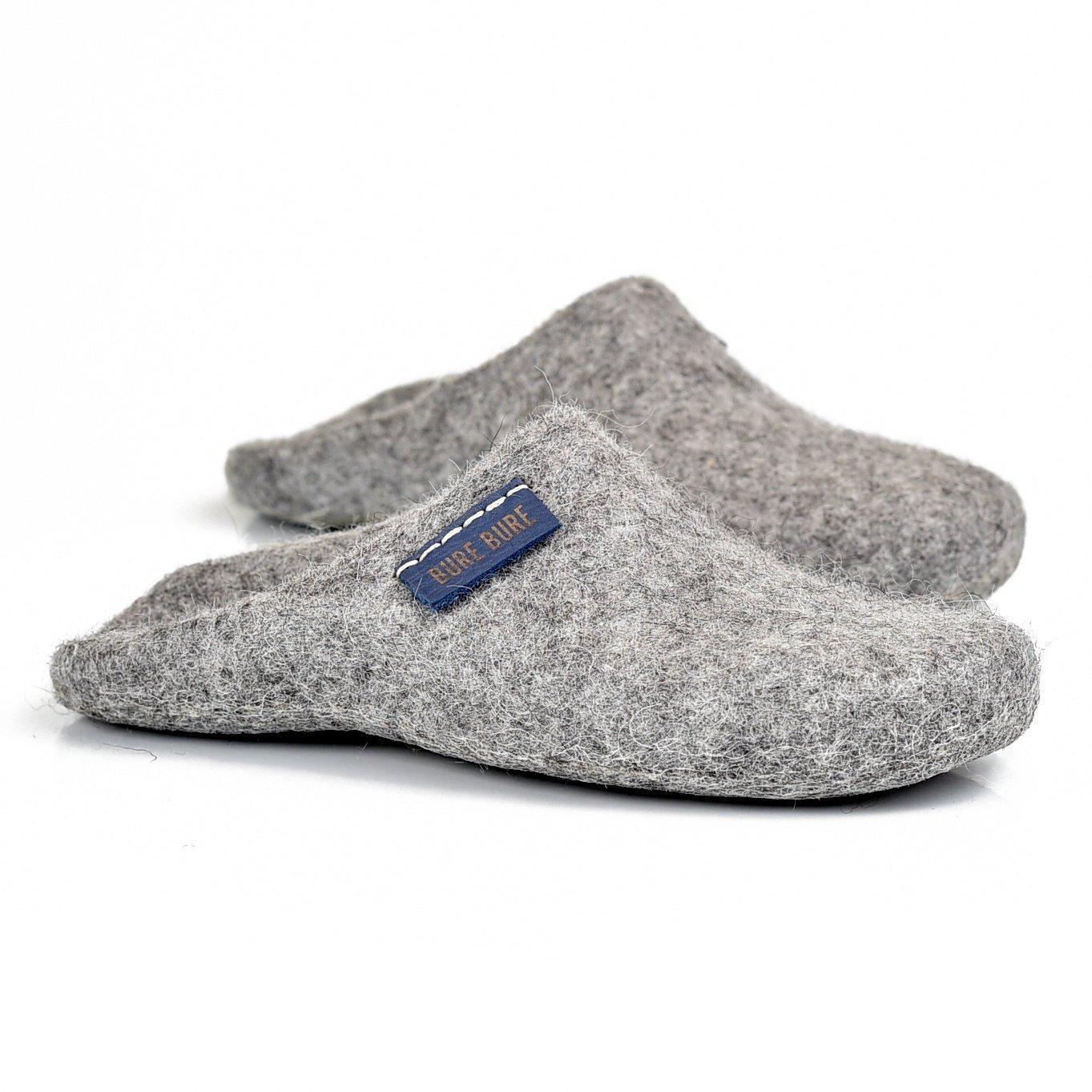 BureBure Natural Wool Slip on Women Slippers size 8 Handmade in North Europe