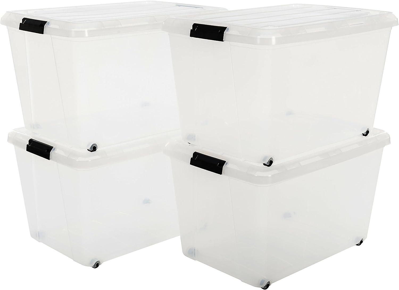 trasparenti 29 l Iris Ohyama 100040 Set di 4 scatole impilabili con manici e coperchio