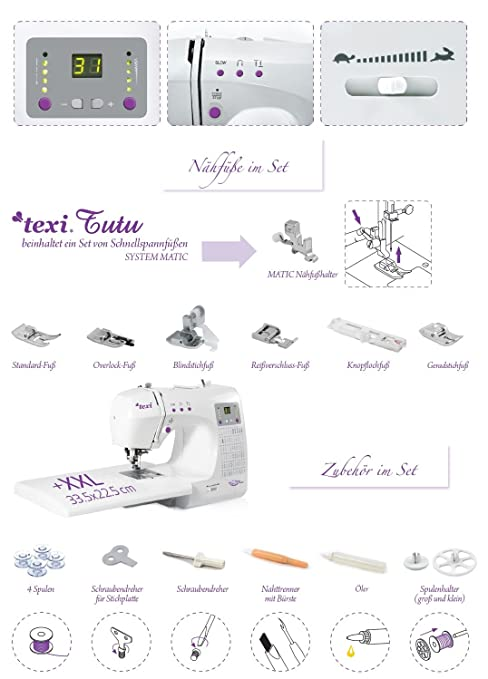 Máquina de coser con brazo libre TEXI tutú ordenador de trabajo grande y picaduras de 66: Amazon.es: Hogar