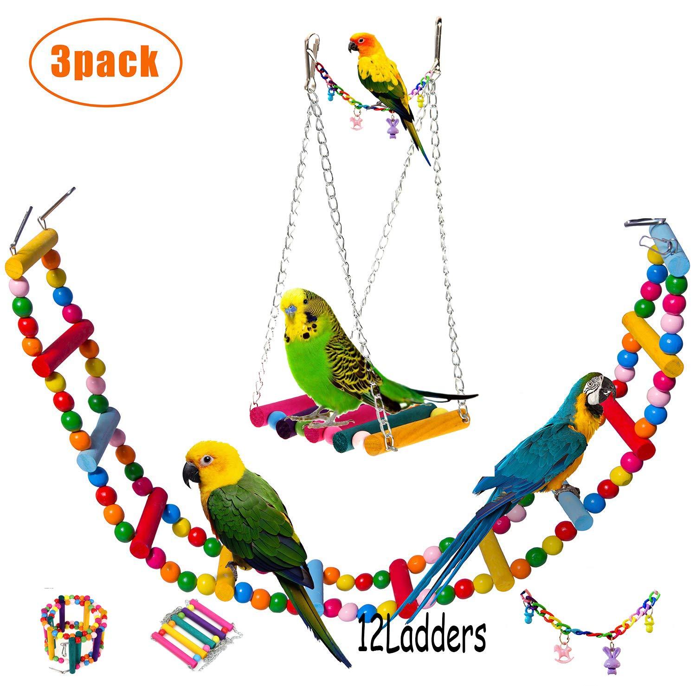 AnnaEye Pet Bird Parrot Parakeet Budgie Cockatiel Cage Hammock Swing Toy Hanging Toy Swings Set,Ladders for Pet Trainning 3pcs by AnnaEye