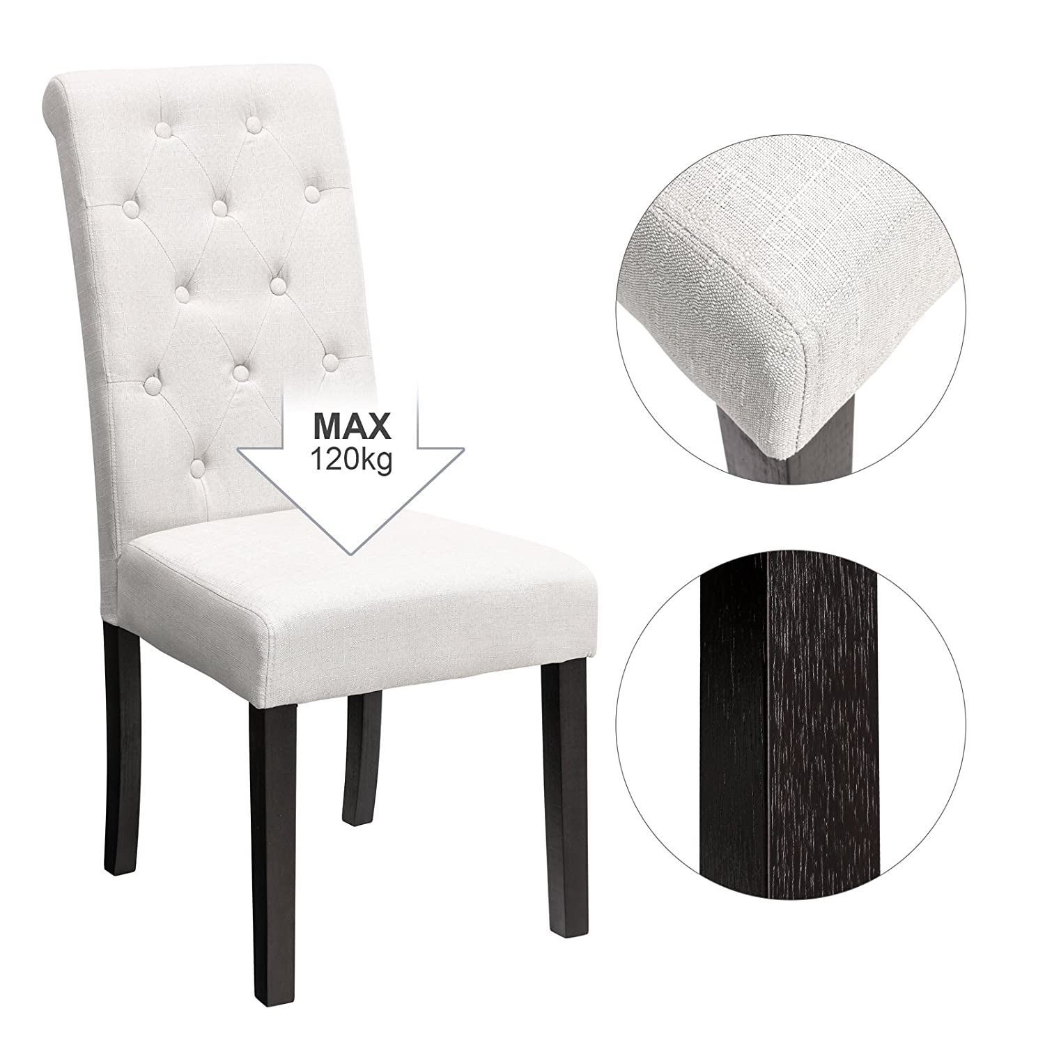 Songmics cotton linen upholstered dining chair set of 2 button tufted parson chair solid wood legs seat height 18 5 with high backrest beige uldc26be