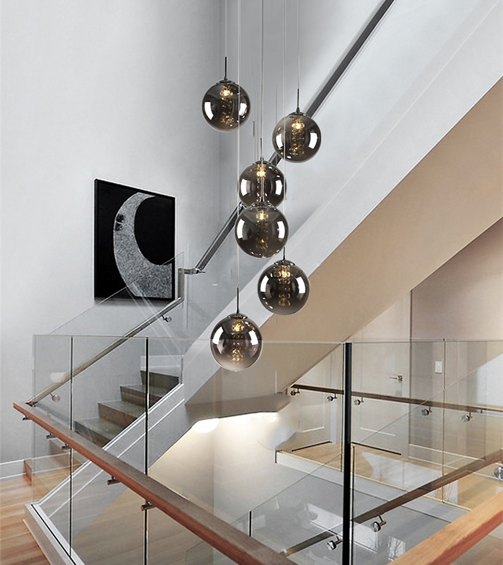 CBJKTX Pendelleuchte esstisch Pendellampe Höheverstellbar Kronleuchter Hängeleuchte 6-Flammig aus aus aus Glas drehbar-Treppenleuchte Wohnzimmerlampe Schlafzimmerlampe Flurlampe (Bernstein, 6-Flammig) 6c6994