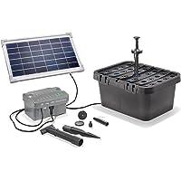 Kit solar de filtrado de estanques Starter, caudal máximo: 300l/h, potencia: 8W, módulo solar + acumulador de  6V/3,2 Ah + iluminación LED hasta 500 l, estanque de jardín 101068