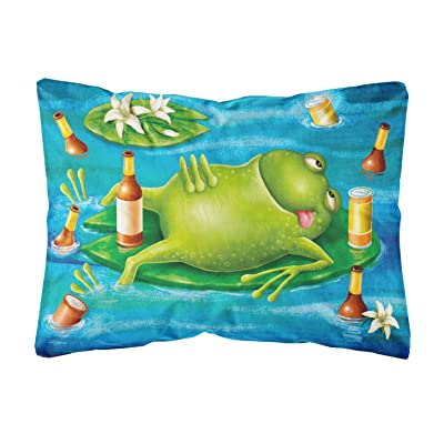 Caroline's Treasures APH0093PW1216 Frog Drinking Beer Fabric Decorative Pillow, 12H x16W, Multicolor : Garden & Outdoor
