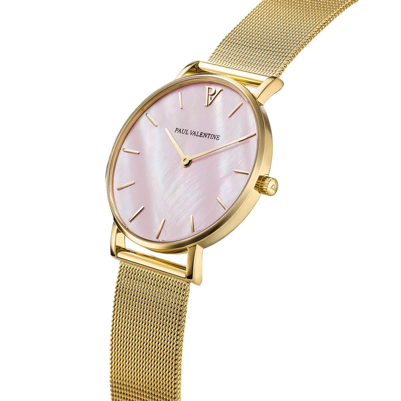 Paul Valentine PV38641 - Reloj de Pulsera para Mujer, Color Dorado y Rosa: Amazon.es: Relojes