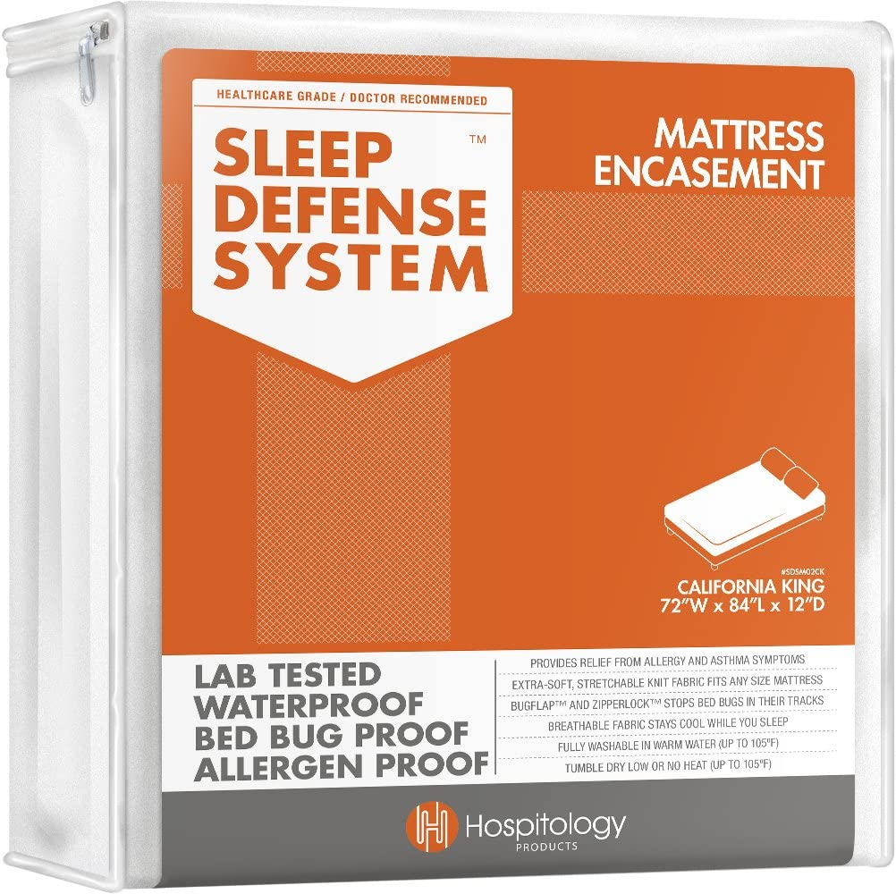 """HOSPITOLOGY PRODUCTS Sleep Defense System - Zippered Mattress Encasement - California King - Hypoallergenic - Waterproof - Bed Bug & Dust Mite Proof - Stretchable - Standard 12"""" Depth - 72"""" W x 84"""" L"""