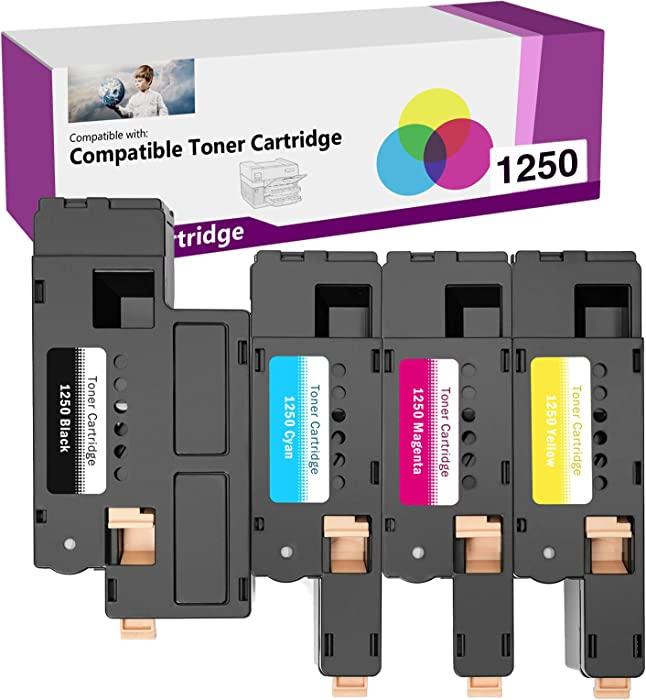 Limeink 4 Pack Compatible High Yield Toner Cartridges Replacement for Dell 1250 Laser Printers 1250c 1355cn 1350cnw 1355w 1355cnw C1760nw C1765nf C1760 C1765nfw (1 Black, 1 Cyan, 1 Magenta, 1 Yellow)