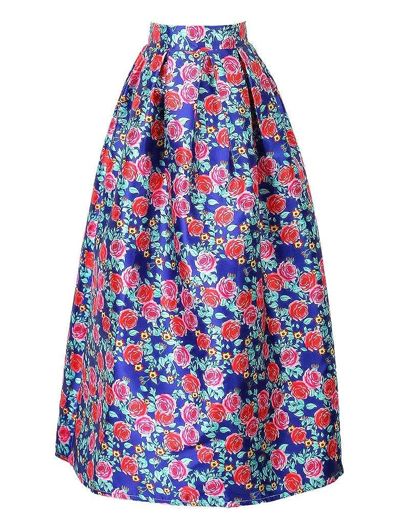 Choies Women's Leopard Print Floral and Geo A-Line Maxi Skirt CHOIES-PYA2JA