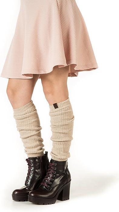 09c4dabdd Amazon.com  Marino Long Leg Warmers For Women - Winter Knee High Knit Leg  Warmer Socks