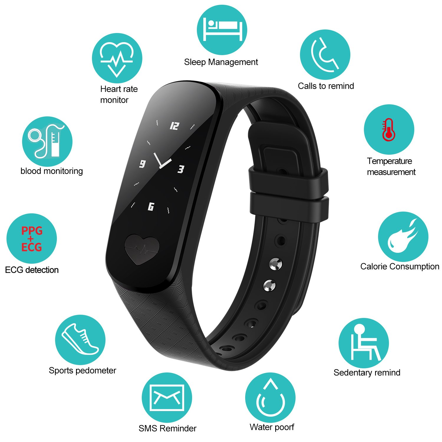 Fitness Tracker Activity Sports Bracelet With Heart Rate
