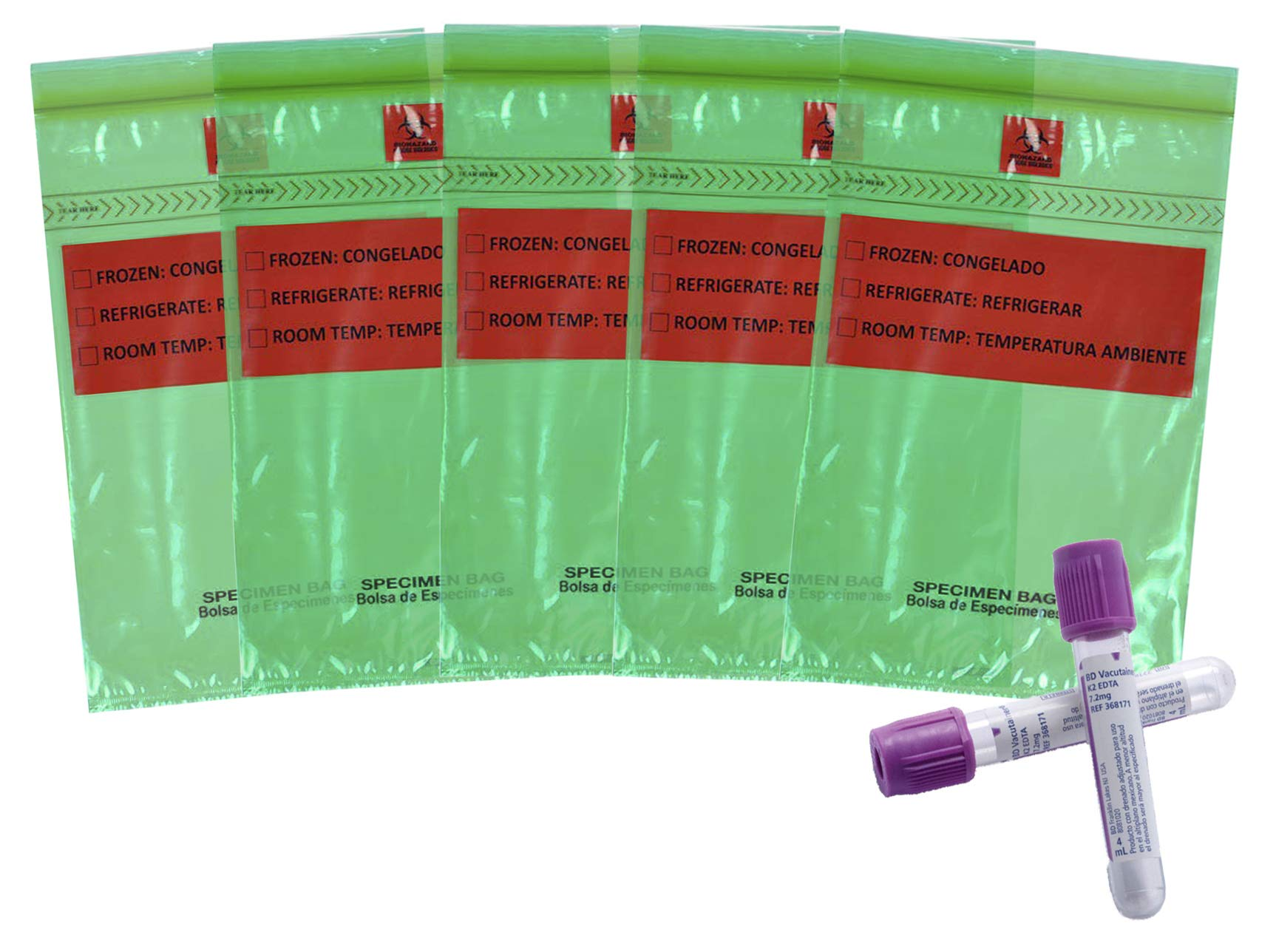 APQ Pack of 100 Specimen Transfer Bags, Green 6 x 9. Zip Lock Polyethylene Bags 6x9. Seal Top Plastic Bags, 1.75 mil for Healthcare Needs. Great for clinics and Hospitals. Removable Biohazard Symbol.
