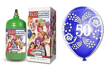 Bombona de gas de helio desechable + 18 globos de cumpleaños ...