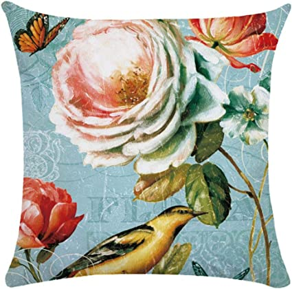 Imagen deCaogsh - 2 fundas de almohada de felpa corta para cojín lumbar, sofá, almohada, almohada retro con diseño de pájaros y flores, algodón mixto, Zt002745, 50x50cm(Single side printing)