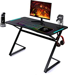 FOR FINER Game Desk, 46 Inch Large PC Computer Desk with Sturdy Z-Shaped Leg and RGB Light, Gaming Workstation Home Office Desk with Power Strip of USB Ports/Cup Holder/Headphone Handle Hook, Black