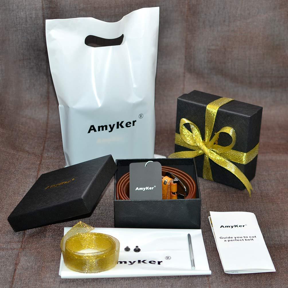 ritagliata AmyKer uomo Cintura da in vera pelle con fibbia ad ardiglione nero marrone regalo per lui