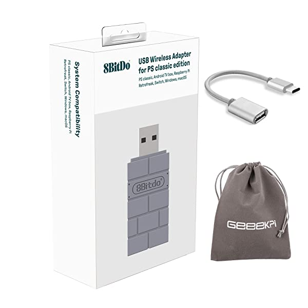 8Bitdo Wireless USB Bluetooth Adapter for PlayStation Classic Edition/Windows/Mac/Raspberry Pi/Switch, with OTG Cable