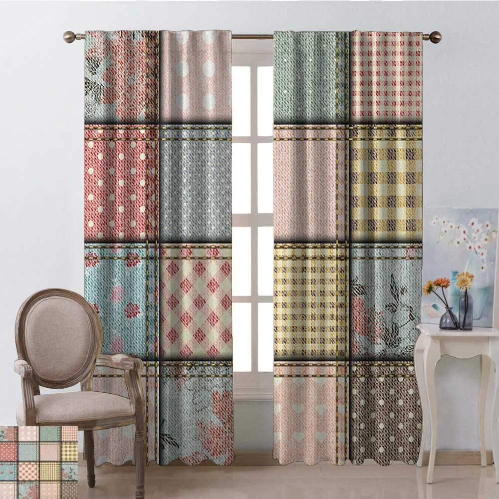 youpinnong Shabby Chic, Curtains Sliding Glass Doors, Patchwork Denim Seem Fabric Pieces with Stitches Square Tile Digital Print, Curtains Kids Bedroom, W72 x L84 Inch, Multicolor by youpinnong