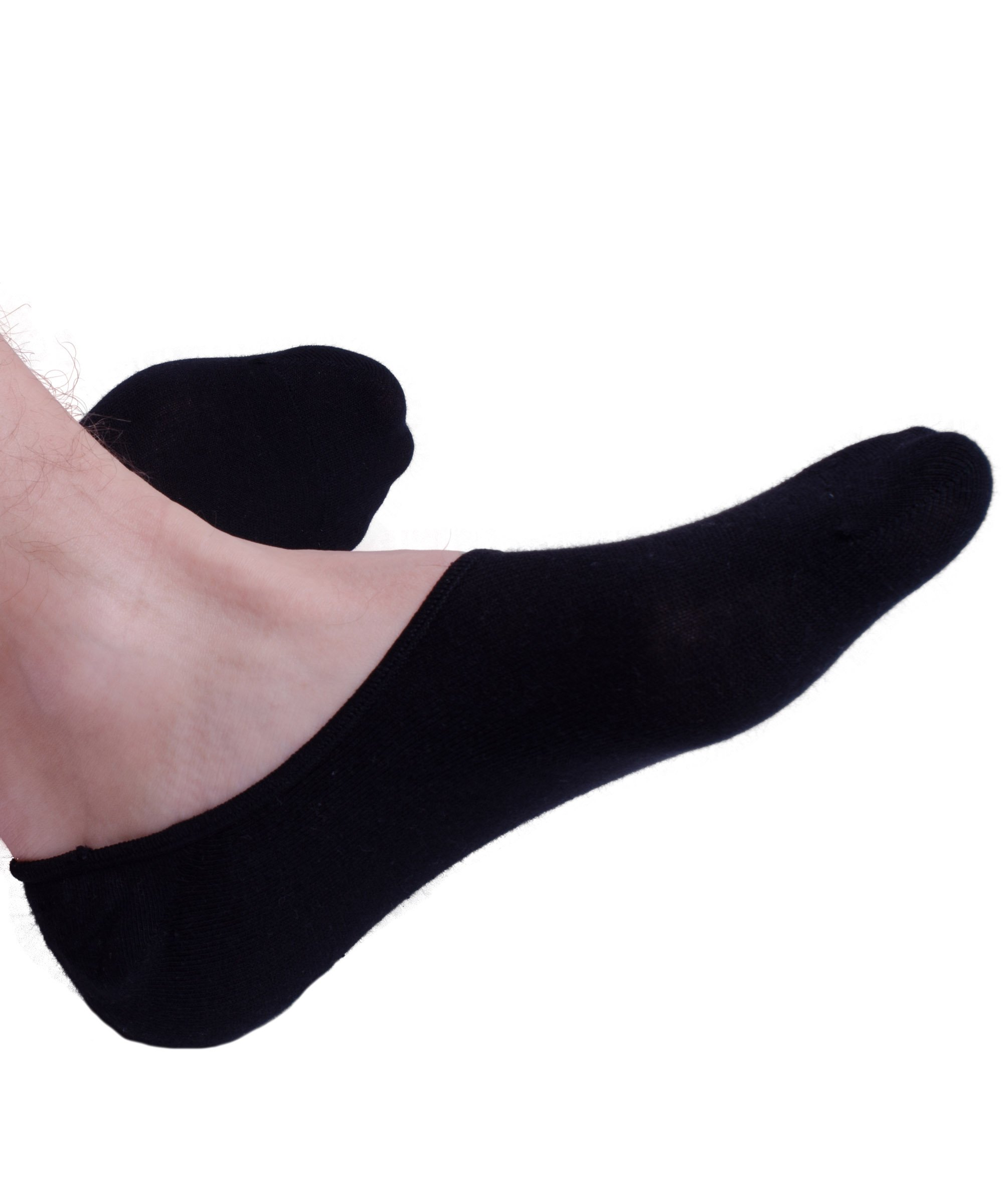 No Show Socks For Men 3pk Quality Cotton Lge Heel Grip Non Slip Black, Medium