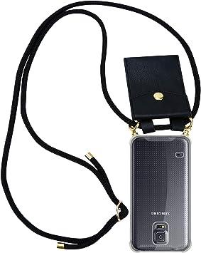 Cadorabo Funda con Cuerda para Samsung Galaxy S5 / S5 Neo en Negro – Cubierta Protección Collar para Colgar di TPU Silicona Transparente con Anillos OROS, Cordon y Estuche Removible: Amazon.es: Electrónica