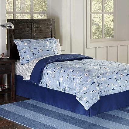 7c4dd7caf Amazon.com  4 Piece Queen Kids Airplane Comforter Set