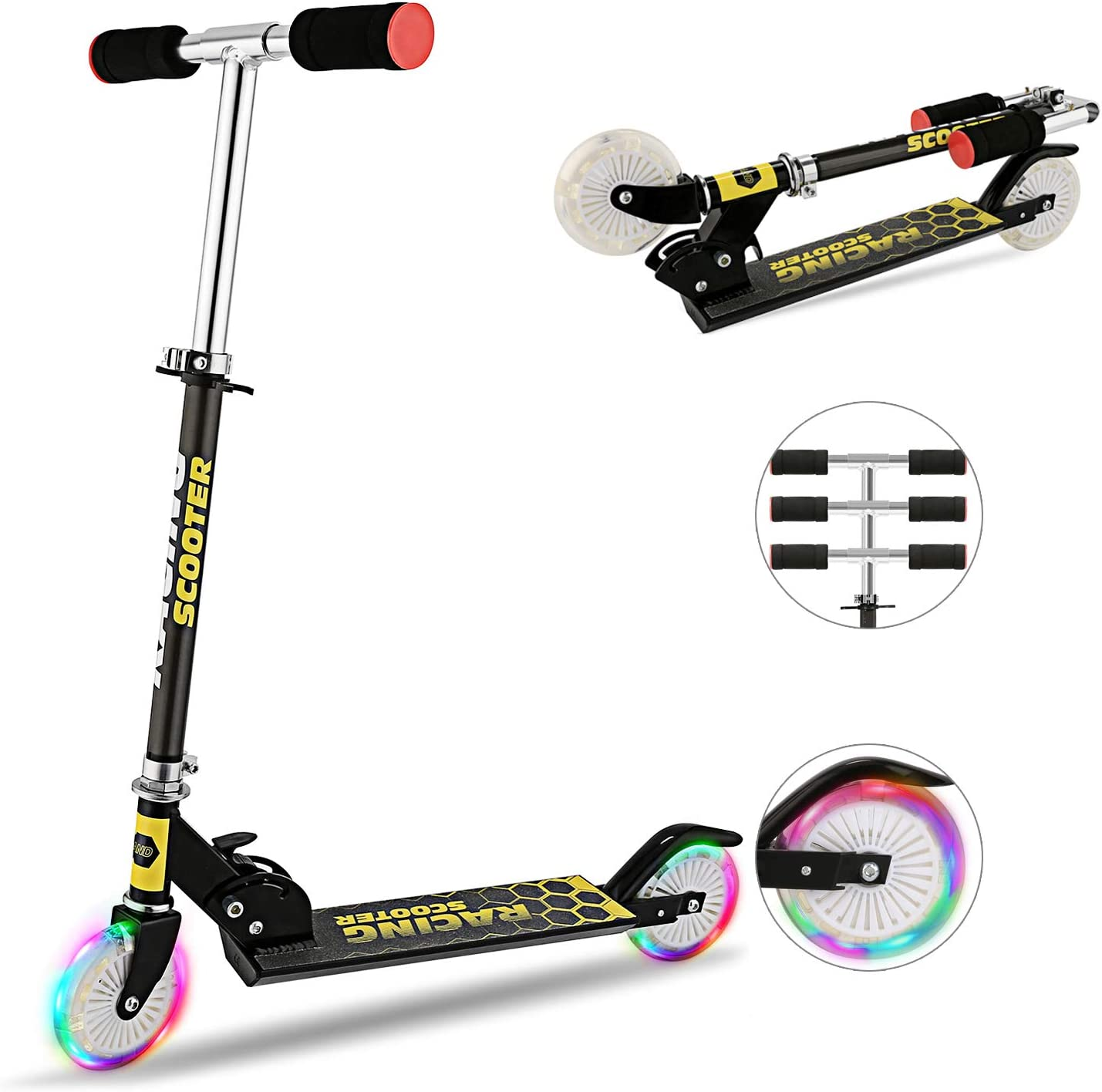 Hikole Scooter for Kids with LED Light Up Wheels, Adjustable Height Kick Scooters for Boys and Girls, Rear Fender Break 5lb Lightweight Folding Kids Scooter, 110lb Weight Capacity
