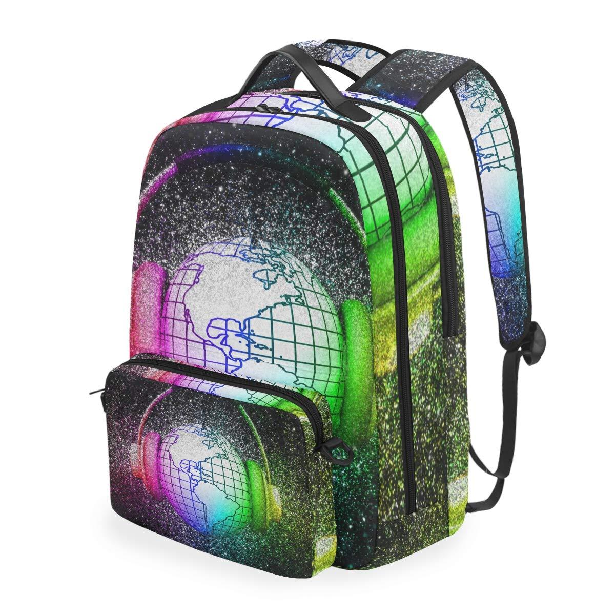 Colorful Music World Shoulder Backpack Messenger Crossbody Laptop Bag Student Bookbags for Kid Girls Boys