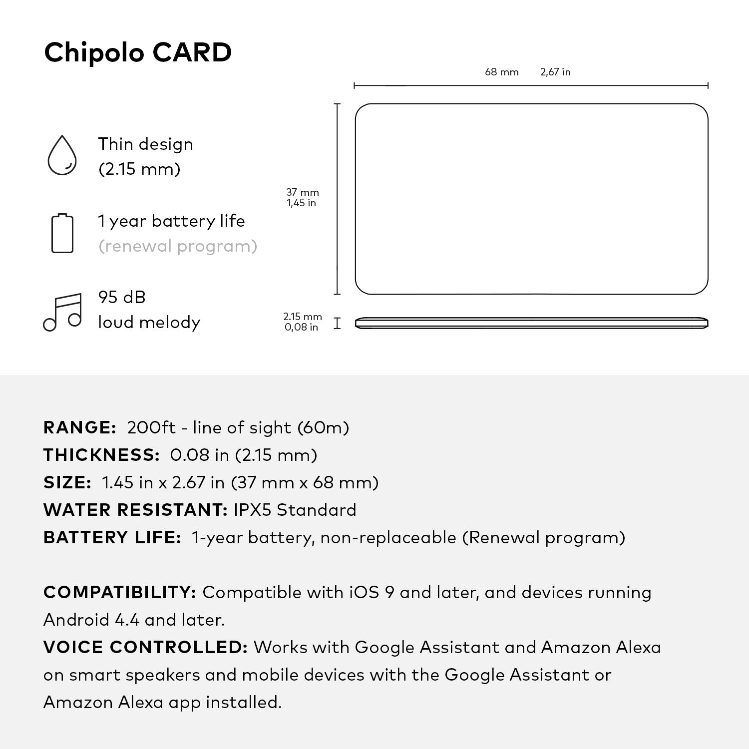 Chipolo Card - Ultra-Thin Bluetooth Tracking Device  Fits in Your Wallet   Easily Find Your Lost Wallet, Bag, Backpack, Etc  World's Loudest Speaker