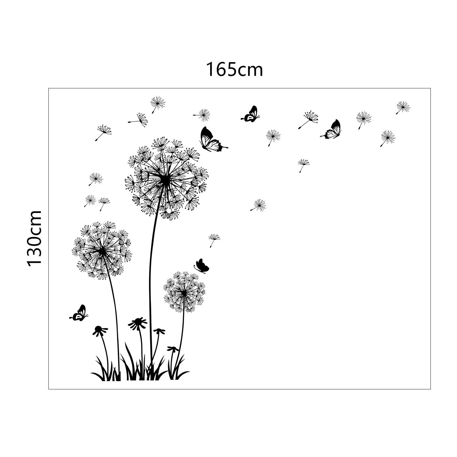 5ae436bd19 Amazon.com: Runtoo Giant Dandelion Wall Decals Flying Flowers Butterflies  Wall Stickers Plants Wall Art Living Room Bedroom Decor [Black]: Home &  Kitchen