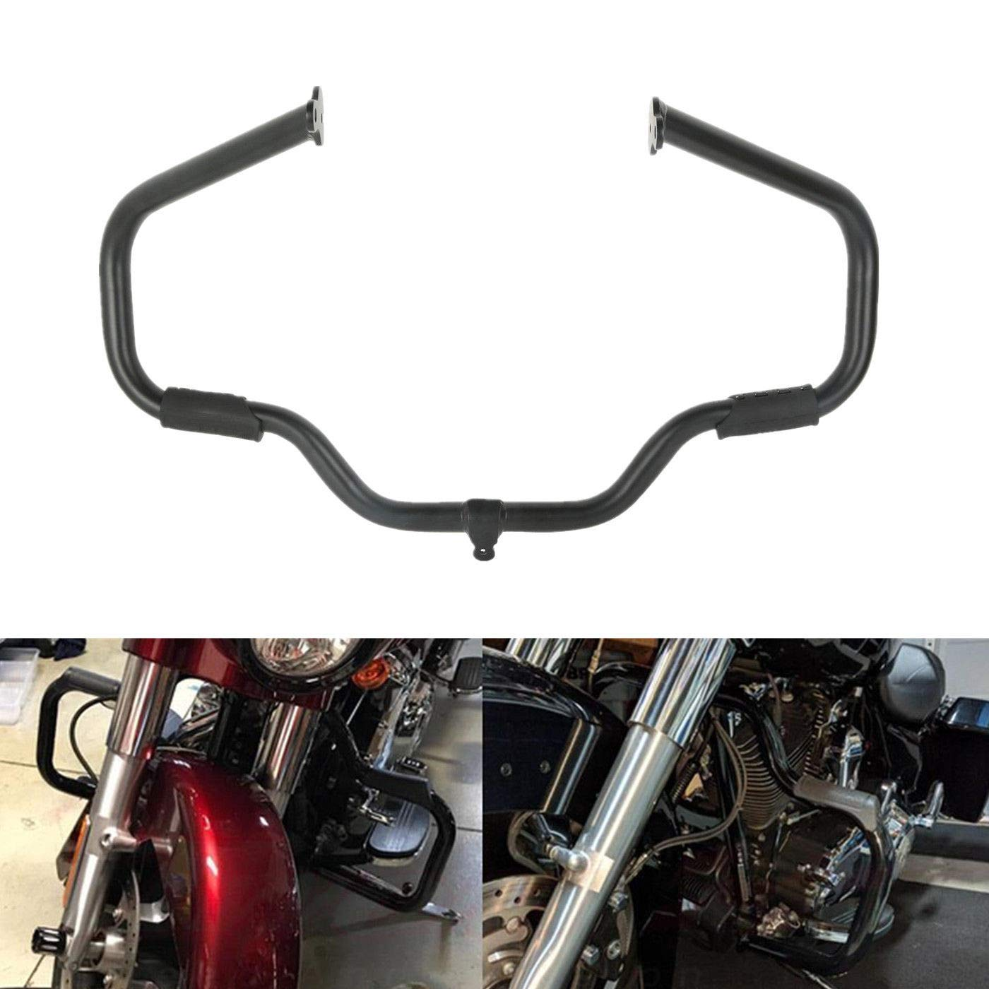 TCMT Black Engine Mustache Crash Guard Bar Fits For Harley Touring Glide FLH FLT 2009 2010 2011 2012 2013 2014 2015 2016 2017 2018 2019