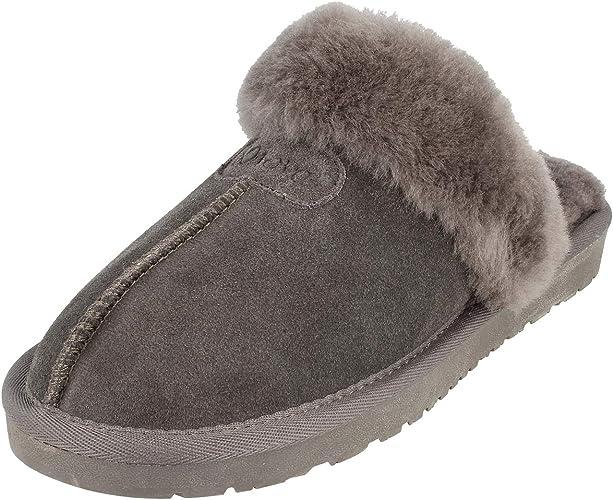 Damen Hausschuhe Pantoffel Pantolette grau Leder 100/% echt Lammfell  Neu