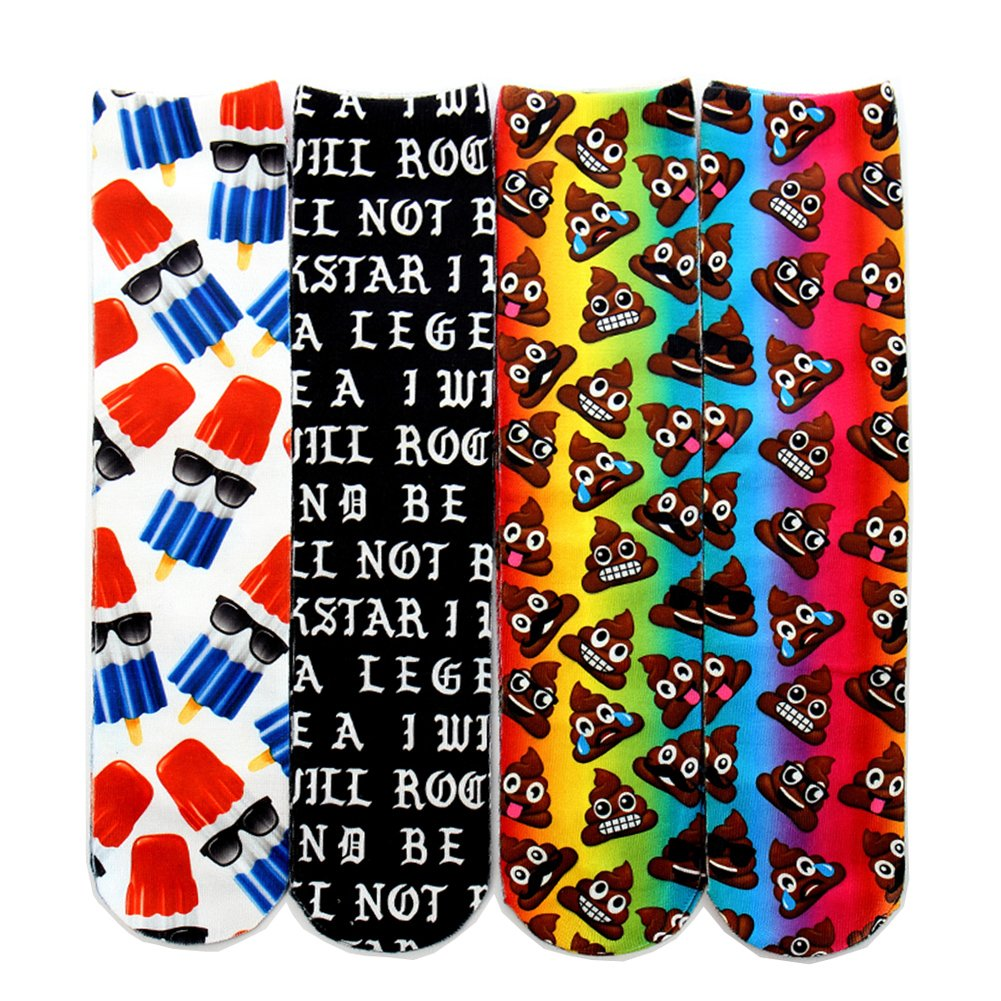 Centrawin Men's Novelty 3D Printed Fruits Scenery Animal Casual Long Crew Tube Socks 4WZ177Dollars