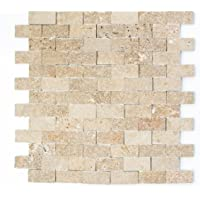 mosaico azulejos TRAVERTIN piedra natural nogal Brick splitface