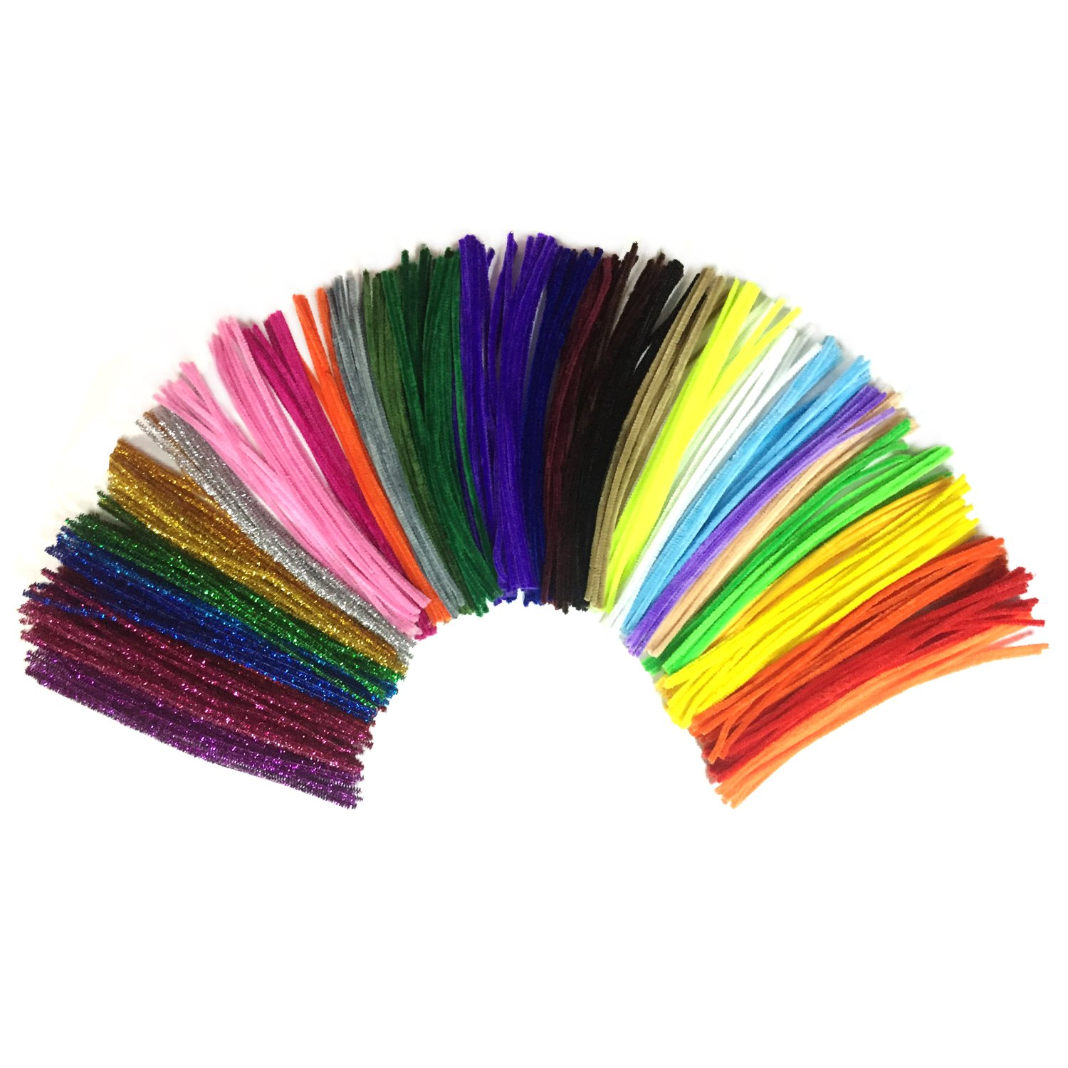 Wartoon 300 Pcs Assorted Colors and 100 Glitter Creative Pipe Cleaners DIY Art Craft Decorations Chenille Stems (6 mm x 35 cm)