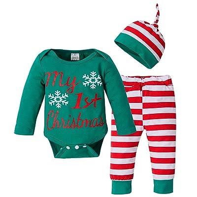 3Pcs Christmas Outfits Newborn Baby Boys Girls Letters Print Romper Bodysuit+Striped Pants+Cap Set