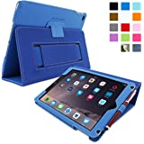 iPad Air 2 Case, SnuggTM Electric Blue Leather iPad Air 2 Smart Case Cover [Lifetime Guarantee] Protective Flip Stand for Apple iPad Air 2 With Auto Wake & Sleep