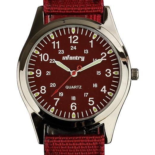 Para hombre de infantería luminoso ejército Militar analógico reloj de pulsera 12/24 horas verde nailon banda, brilla en la oscuridad: Amazon.es: Relojes