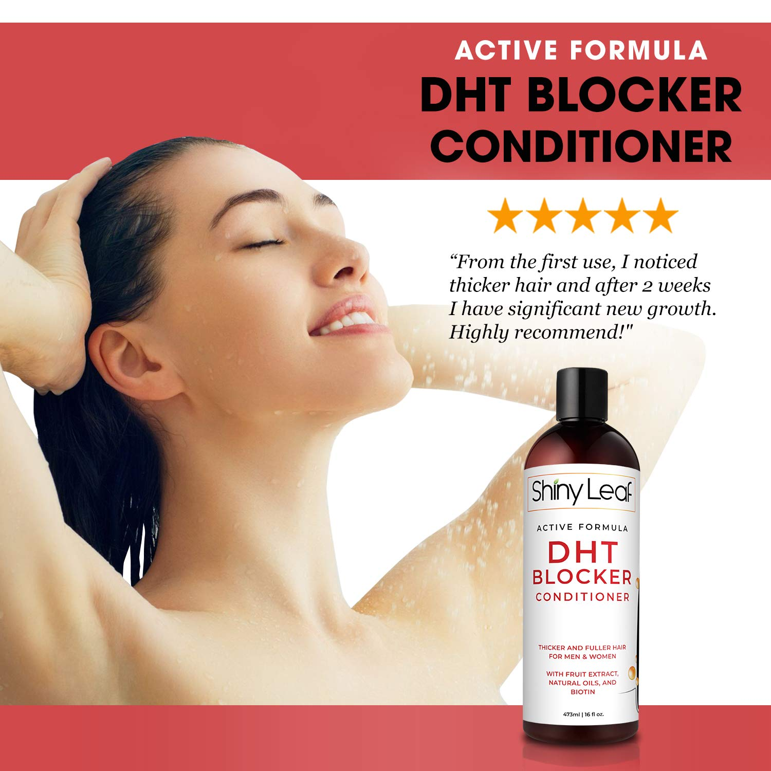 DHT Blocker Conditioner for Hair Loss with Rosemary and Green Tea Extracts, Anti-Hair Loss Conditioner for Hair Growth for Men & Women, For Softer & Smoother Hair, Paraben & Sulfate Free, 16 oz by Shiny Leaf (Image #4)
