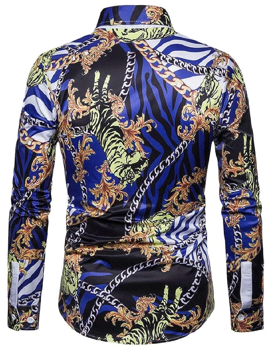 FLCH+YIGE Mens Print Stylish Long Sleeve Party Slim Fit 3D Button Down Dress Shirts