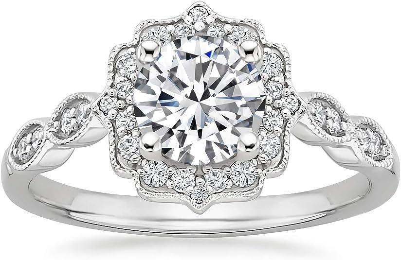 Vintage Ring Art deco Engagement Milgrain Set Ring 1.70 Ctw OEC Round Cut White Moissanite 2 Stone Antique Engagement Ring 14k Yellow Gold