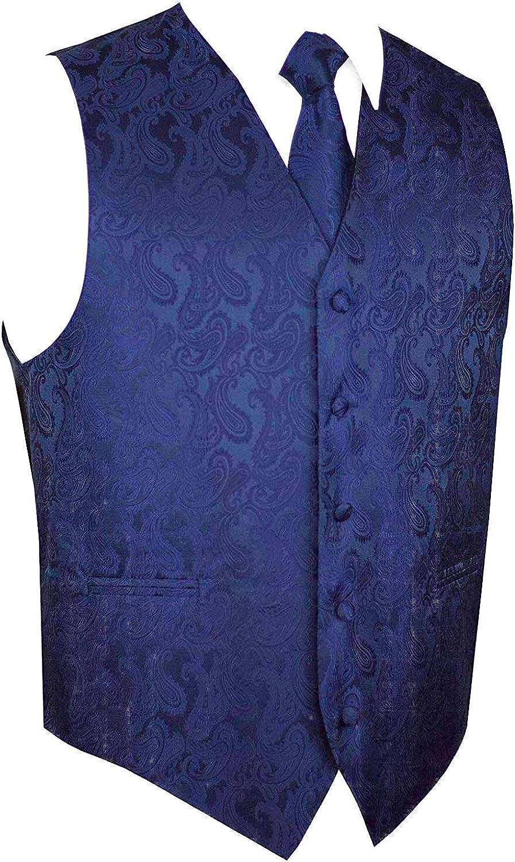 Brand Q Mens 3 Piece Paisley Vest NeckTie /& Pocket Square Set for Suit//Tuxedo